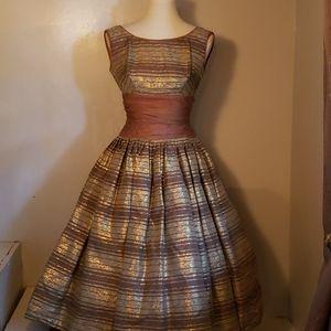 Vintage 1950s Lamé Cupcake Dress EUC fit Flare